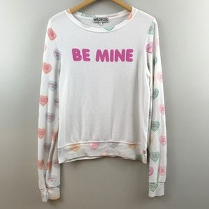Wildfox Baggy Beach Jumper Be Mine Candy Hearts S
